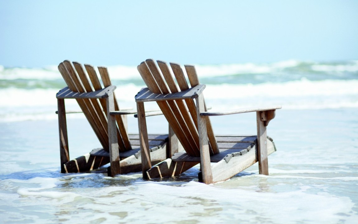 Chairs in the surf